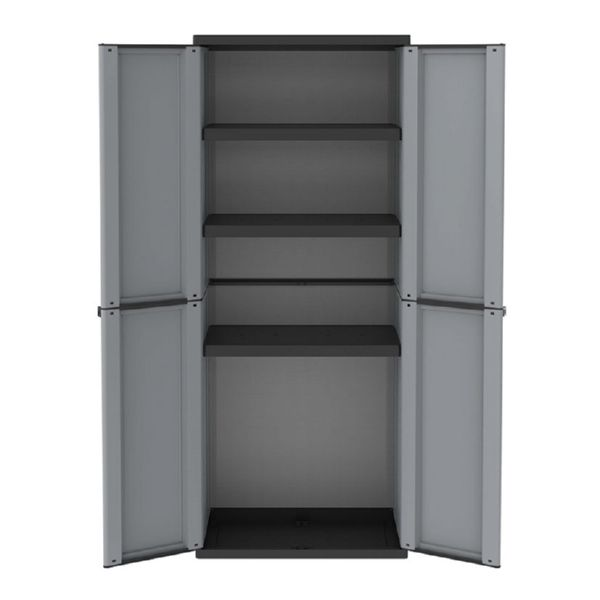 Armario resina J-Line 4 estantes. 68x37,5x163,5cm. gris/negro